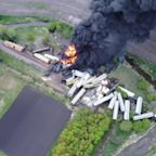 Fire and Smoke as Train Carriages Pile Up After Derailment in Sibley, Iowa