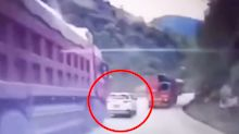 Horrifying moment 'out-of-control' truck rear-ends car killing five