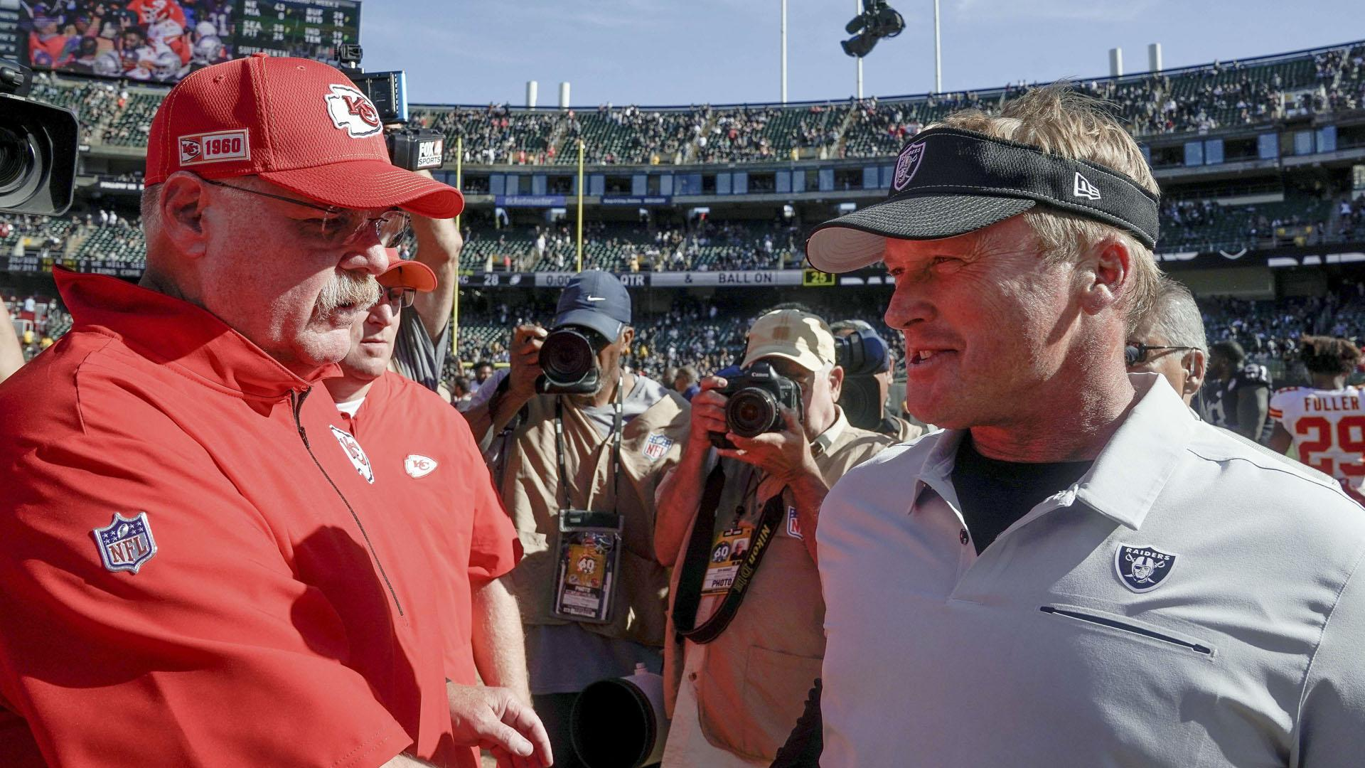 Andy Reid cracks sewage joke after final Chiefs-Raiders game in Coliseum