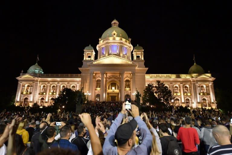 Outrage focused on President Aleksandar Vucic (AFP Photo/Andrej ISAKOVIC)
