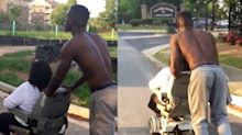 This man pushed a woman all the way home after her electric wheelchair broke down
