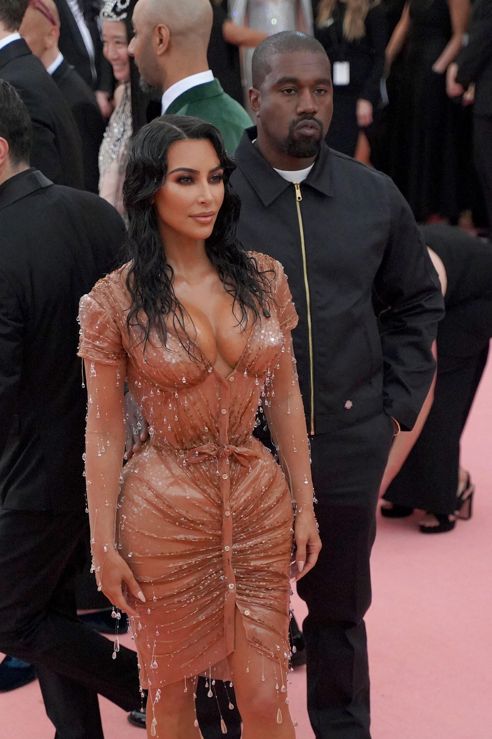 """NEW YORK, NY - MAY 6: Kanye West and Kim Kardashian West attend The Metropolitan Museum Of Art's 2019 Costume Institute Benefit """"Camp: Notes On Fashion"""" at Metropolitan Museum of Art on May 6, 2019 in New York City. (Photo by Sean Zanni/Patrick McMullan via Getty Images)"""