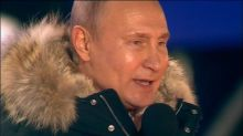 Vladimir Putin makes brief victory speech during Moscow concert