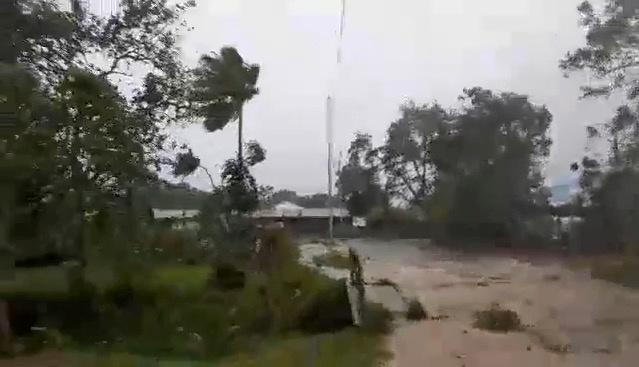 Social media video still of Cyclone Harold bringing strong winds in Luganville