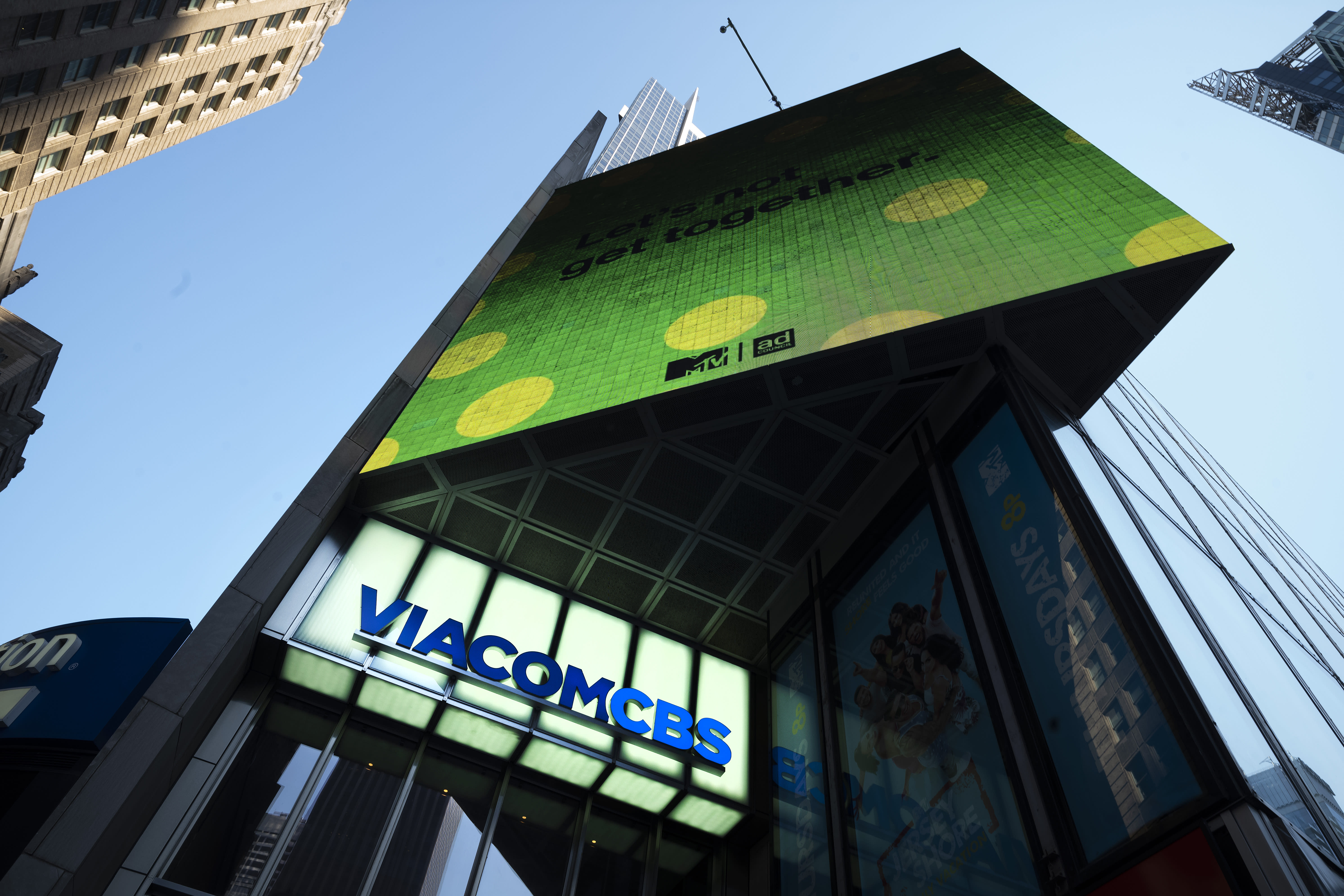 """FILE - The ViacomCBS headquarters is shown in New York's Times Square on Aug. 5, 2020. CBS News is rebuilding MTV's old """"Total Request Live"""" studio as its headquarters for election night. The network is installing giant touchscreens and """"augmented reality"""" displays for the big political night and says the studio provides extra roominess to put on a television show in the COVID-19 era. (AP Photo/Mark Lennihan, File)"""