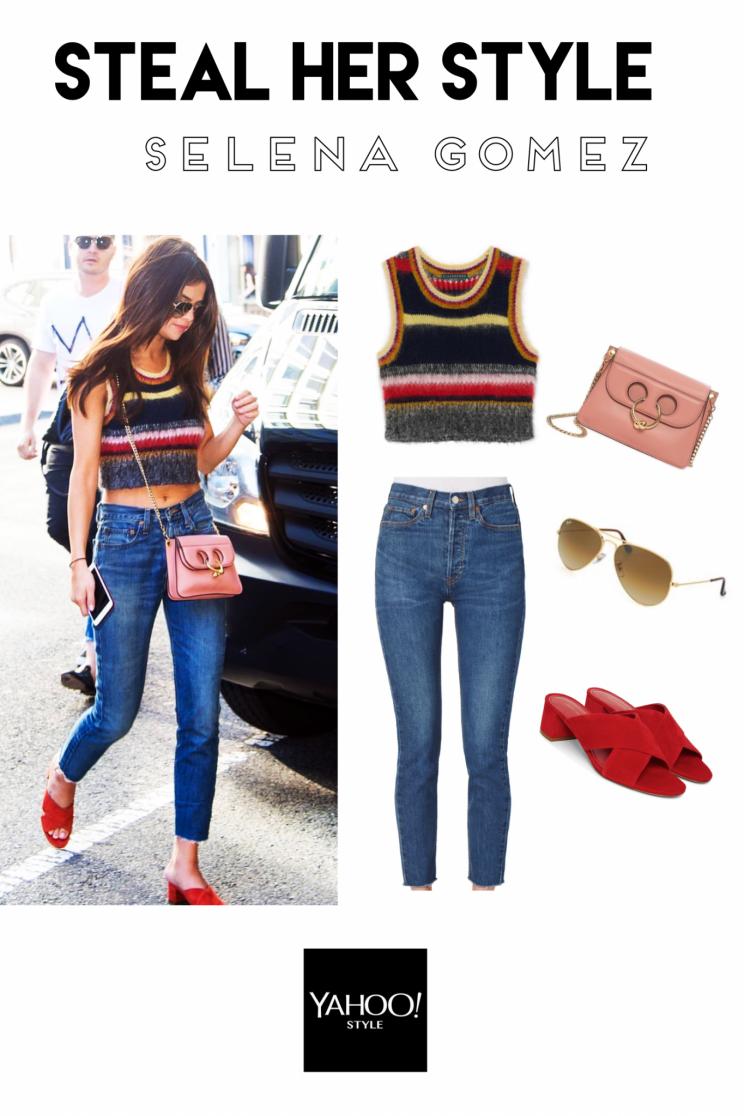 Steal Her Style Der Coole Streifen Und Denim Look Von Selena Gomez