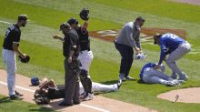 White Sox 1B Jose Abreu and Royals' Hunter Dozier exit game after scary collision during pop-up