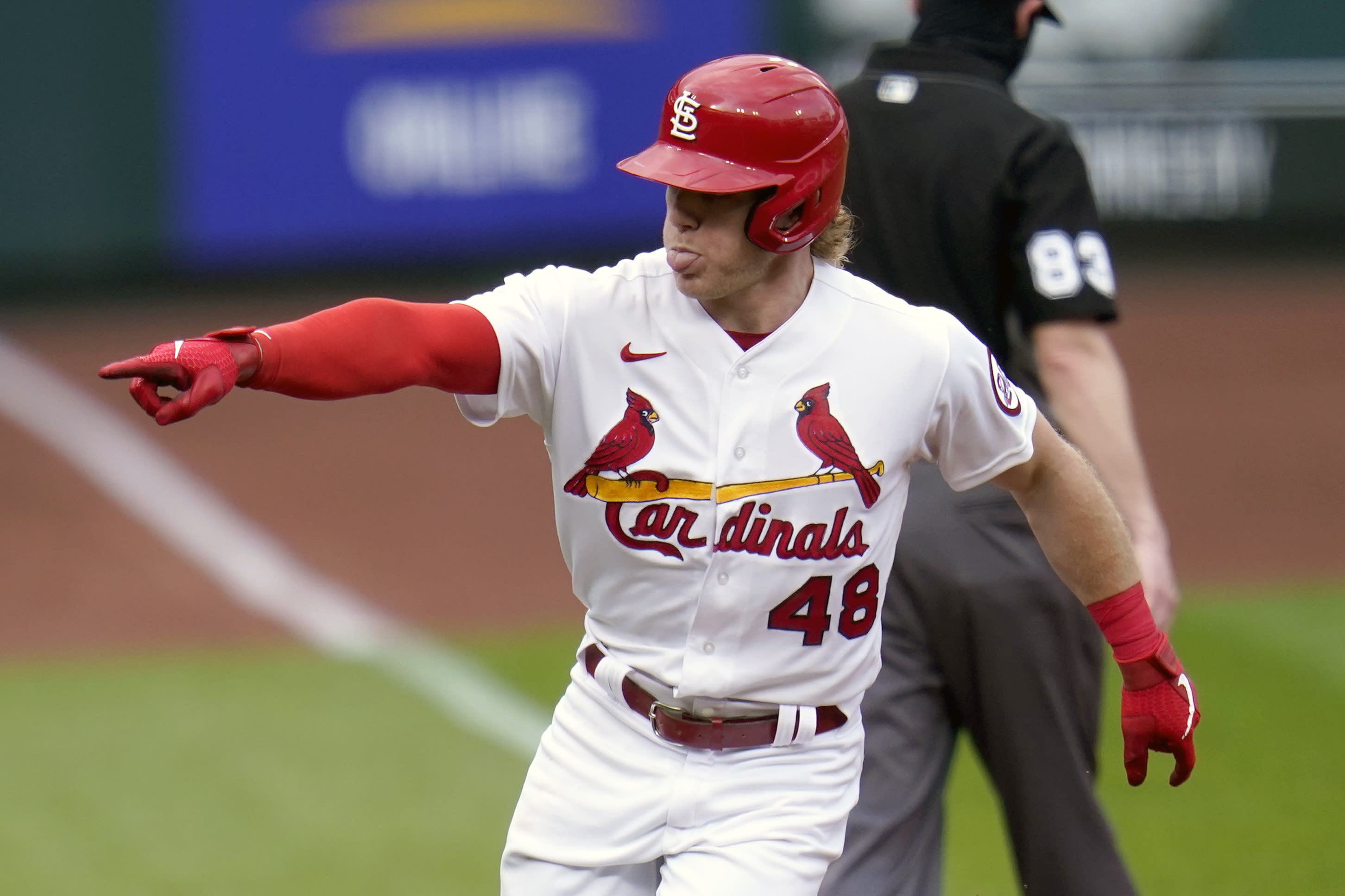 St. Louis Cardinals' Harrison Bader celebrates as he rounds the bases after hitting a solo home run during the fourth inning of a baseball game against the Milwaukee Brewers Sunday, Sept. 27, 2020, in St. Louis. (AP Photo/Jeff Roberson)