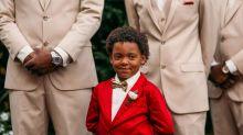 Garotinho de 6 anos não esconde emoção ao ver sua mãe vestida de noiva