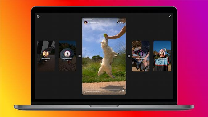 A screenshot of Instagram's redesigned viewer for Stories on desktops