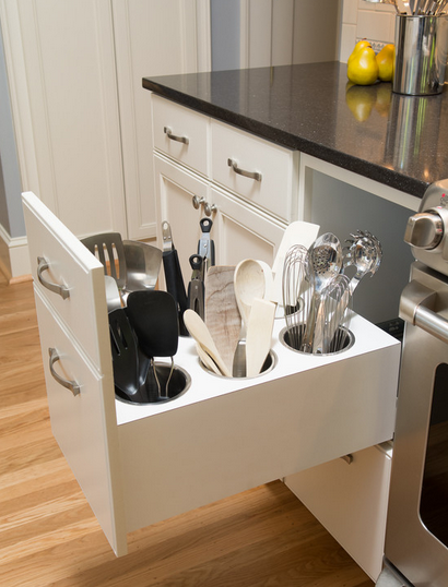 """<p>Instead of containers stuffed with spatulas cluttering your counter, this nifty drawer keeps 'em at the ready, yet out of sight. (Photo:<a href=""""http://www.houzz.com/photos/p/8"""" rel=""""nofollow noopener"""" target=""""_blank"""" data-ylk=""""slk:Houzz"""" class=""""link rapid-noclick-resp""""> Houzz</a>)</p>"""