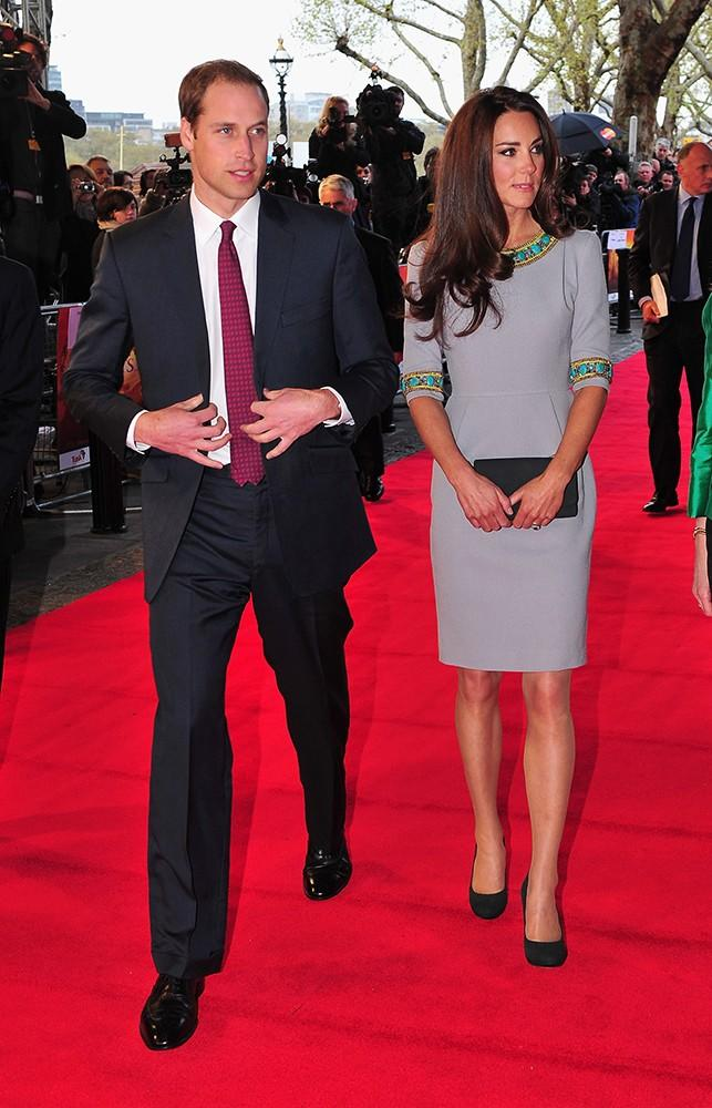 In one of our favorite looks, Kate had the embellishment on the neckline of thisMatthew Williamson dress added just for her -- and she looked gorgeous.