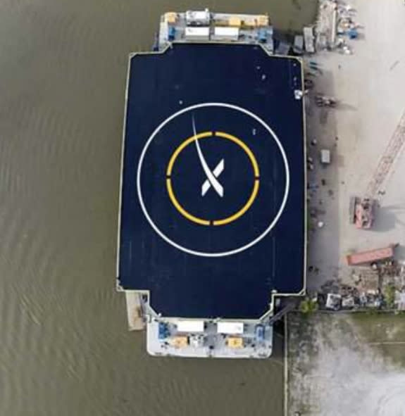 """A photo of the """"autonomous spaceport drone ship"""" on which SpaceX will attempt"""