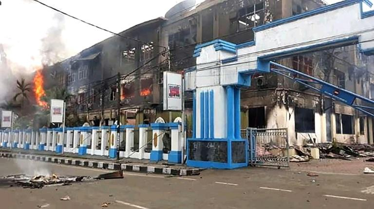 About half of a 500-inmate prison in Sorong city fled their cells when the prison was set ablaze by angry protesters