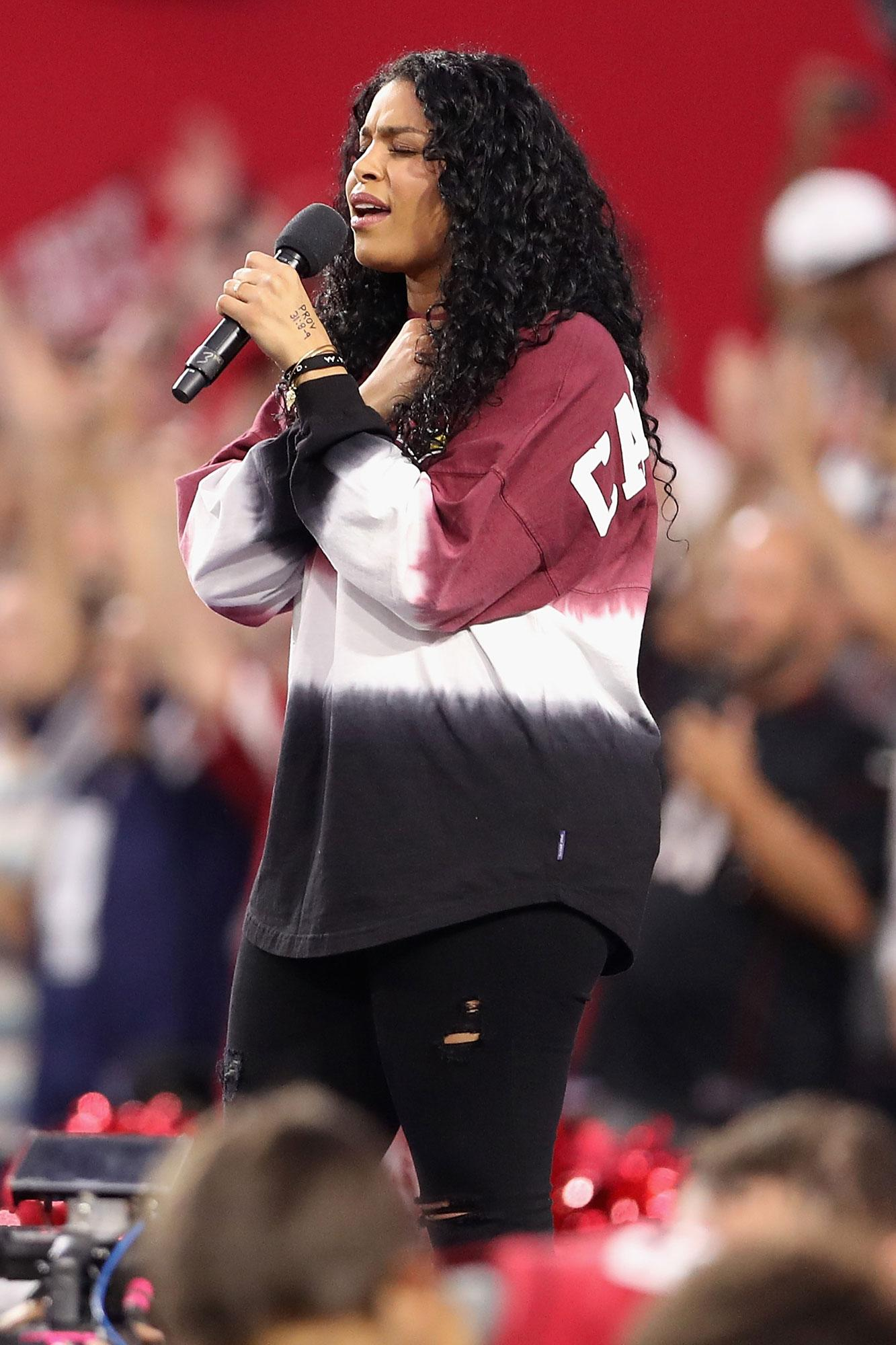 Jordin Sparks Makes Her Own Statement While Singing the National Anthem Before Monday Night's NFL Game
