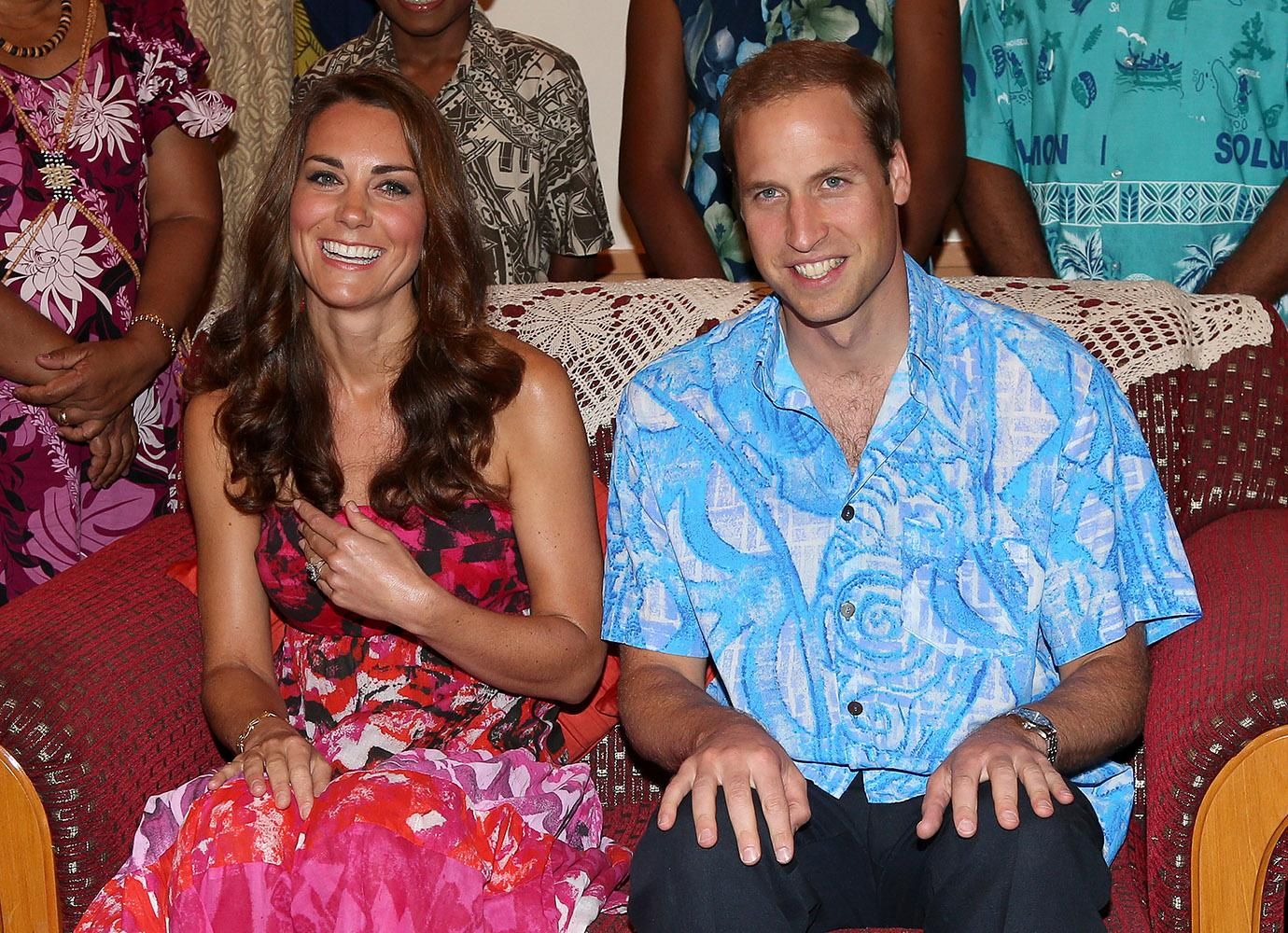 The Duke and Duchess smiled in traditional Island clothing as they visited the Governor General's house.