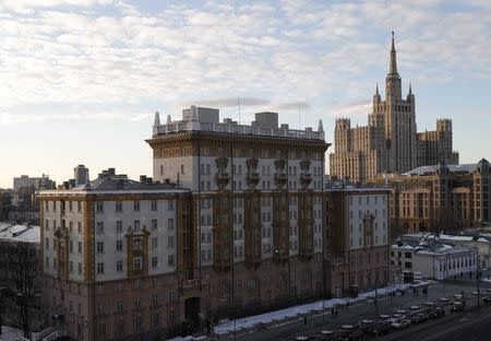 A general view shows the U.S. embassy in Moscow