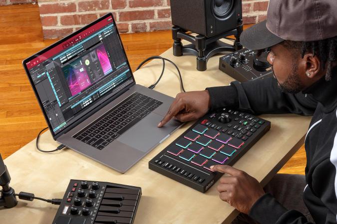 Akai MPC Studio controller linked to a MacBook Pro