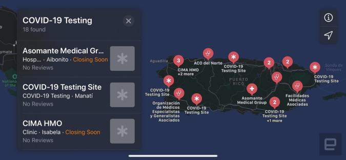 Puerto Rico COVID-19 testing sites in Apple Maps