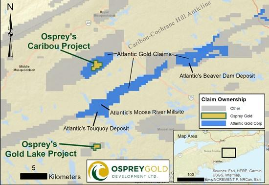 Osprey Trenching Returns 13.8 m of 1.33 g/t Gold Defining Significant Strike Length at Caribou Project Adjoining Atlantic Gold Claims in Nova Scotia