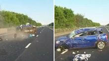 Car splinters into pieces after flipping during road rage crash