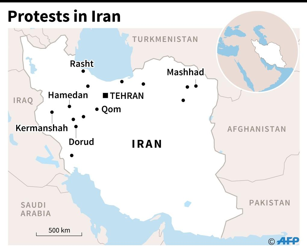Map of Iran locating the main cities hit by of protests up until New Year's Eve (AFP Photo/John SAEKI)