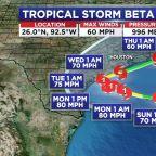 Tropical Storm Beta strengthens overnight