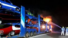 Lorry transporting Batmobile among range of novelty cars engulfed in flames on the M4