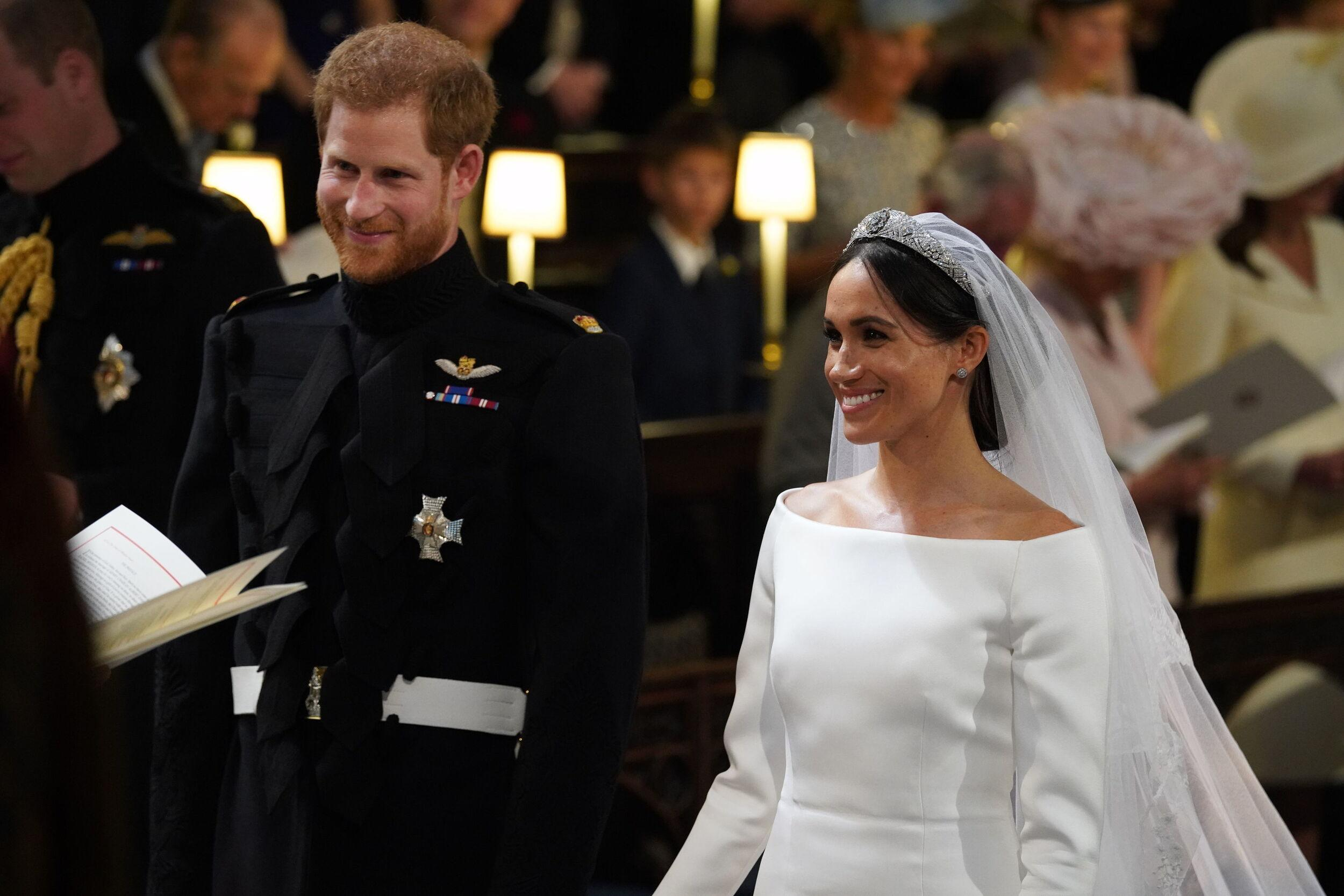 Prince Harry and Meghan Markle in St George's Chapel at Windsor Castle during their wedding service.