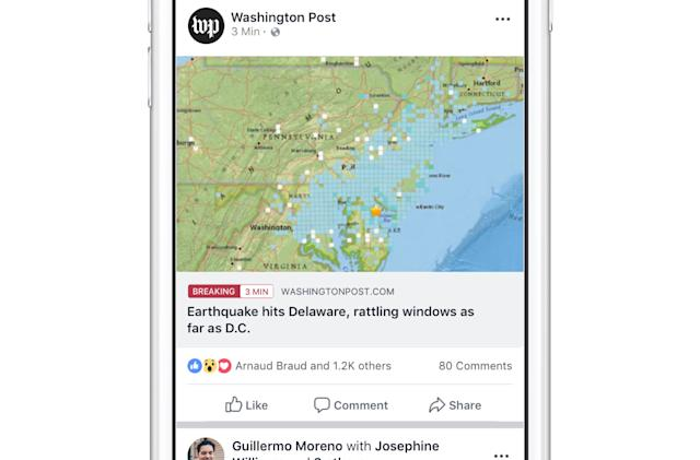 Facebook expands breaking news label to more publishers
