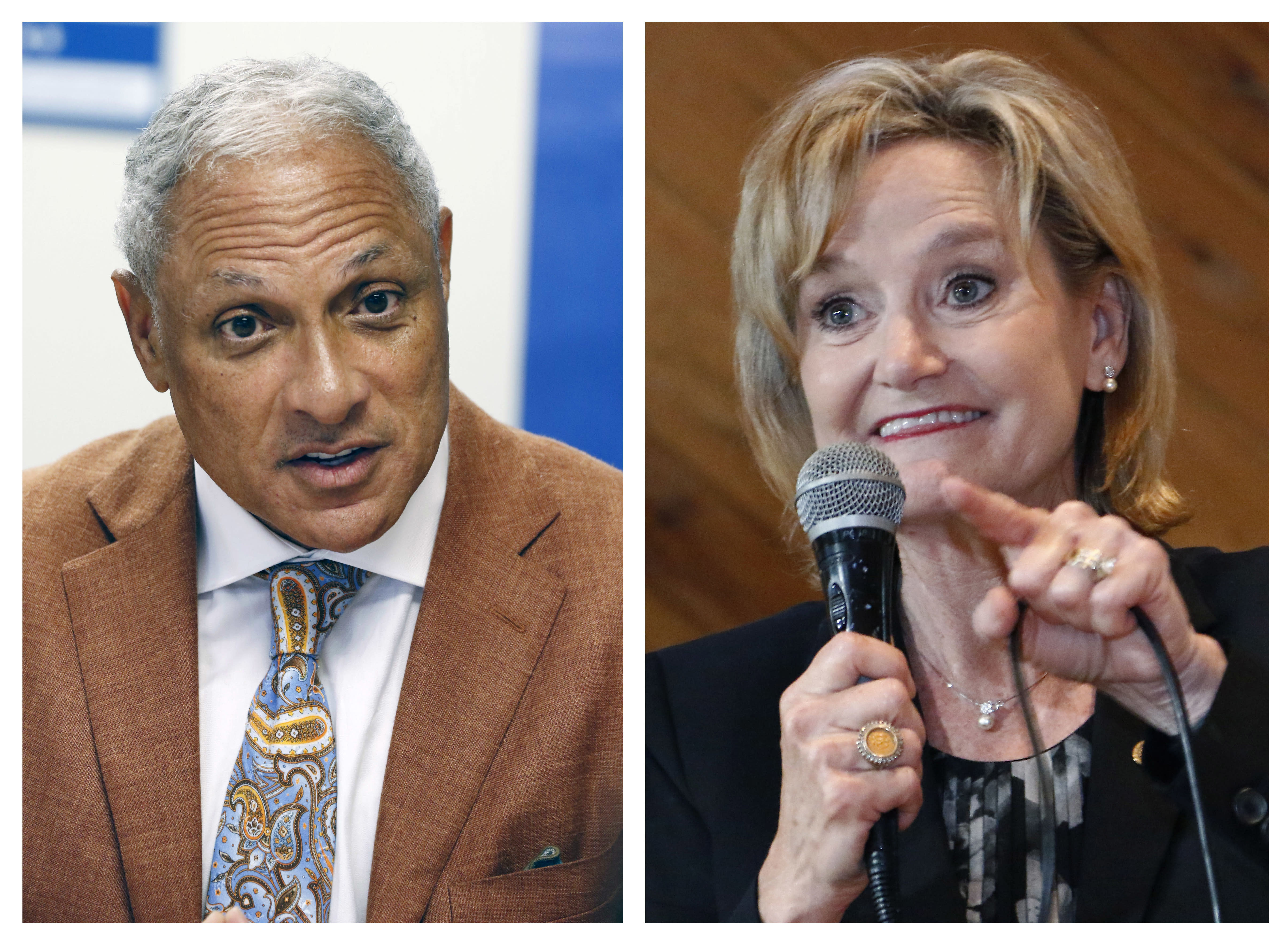 FILE - This file photo combination shows Mike Espy, left, a former congressman and former U.S. agriculture secretary, on Oct. 5, 2018, and U.S. Sen. Cindy Hyde-Smith, R-Miss., on Nov. 5, 2018, both in Jackson, Miss. If Espy and Hyde-Smith win their respective party's primaries, they will face each other in the November 2020 general election. Hyde-Smith defeated Espy in a November 2018 special election. (AP Photo/Rogelio V. Solis, File)