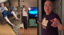 Asustó a su padre con una pistola de confeti… y sus reacciones lo dicen todo