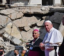 Pope Francis prayed in ruined churches destroyed by the Islamic State during a historic first Papal visit to Iraq