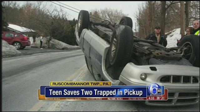 Teen saves pair trapped in truck