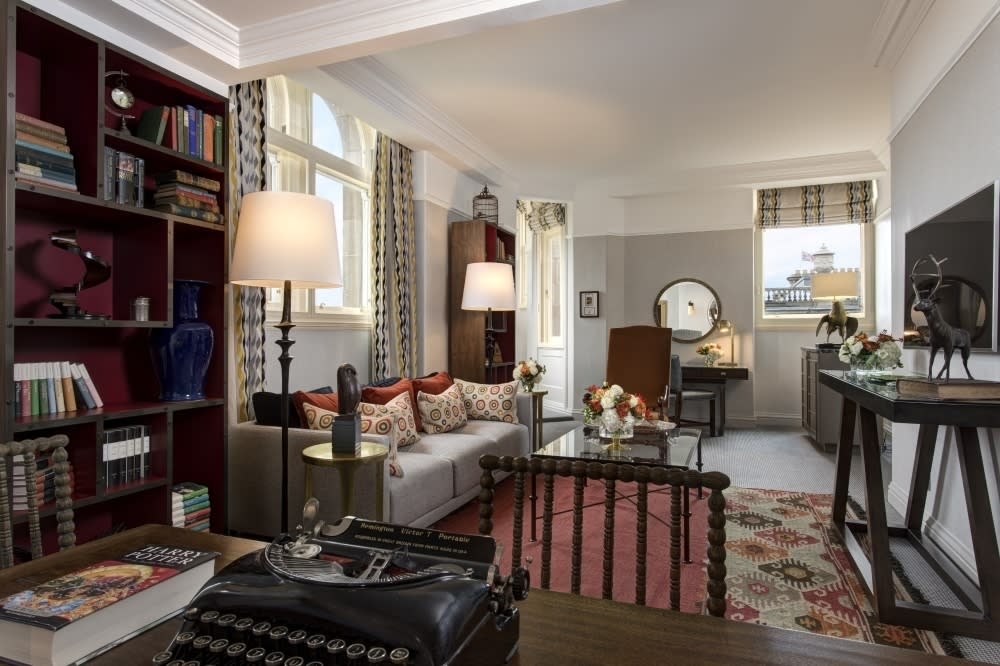 """Edinburgh's luxurious hotel The Balmoral is where JK Rowling completed the Harry Potter series while staying in room 552. The hotel's JK Rowling Suite is named <a href=""""https://www.roccofortehotels.com/hotels-and-resorts/the-balmoral-hotel/rooms-and-suites/grand-suite/"""" target=""""_blank"""">Room 552 ¾</a> and invites guests to enter through a purple door complete with an owl door knocker. The Harry Potter-themed hotel suite's details include a bust with an inscription from the author herself, carved mirrors and tables with branch-like legs, as well as bookcases crammed with the work of Rowling's favourite authors. From £745 per night."""