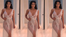 Kim Kardashian Just Wore a Sheer Dress Covered in Crystals
