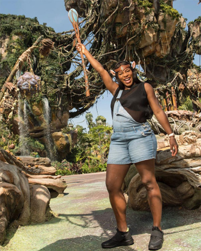 Serena Williams took her baby bump to Disney's new Pandora attraction.