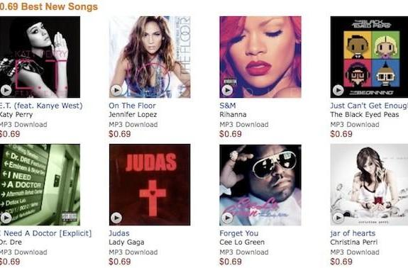 Amazon launches 69-cent MP3 store for chart-toppers