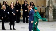 Harry und Meghan sagen in Westminster Abbey als Royals Goodbye
