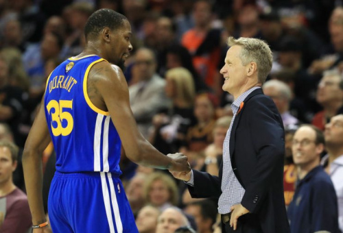 Kevin Durant has impressed Steve Kerr in a lot of ways since joining the Warriors. (Getty Images)