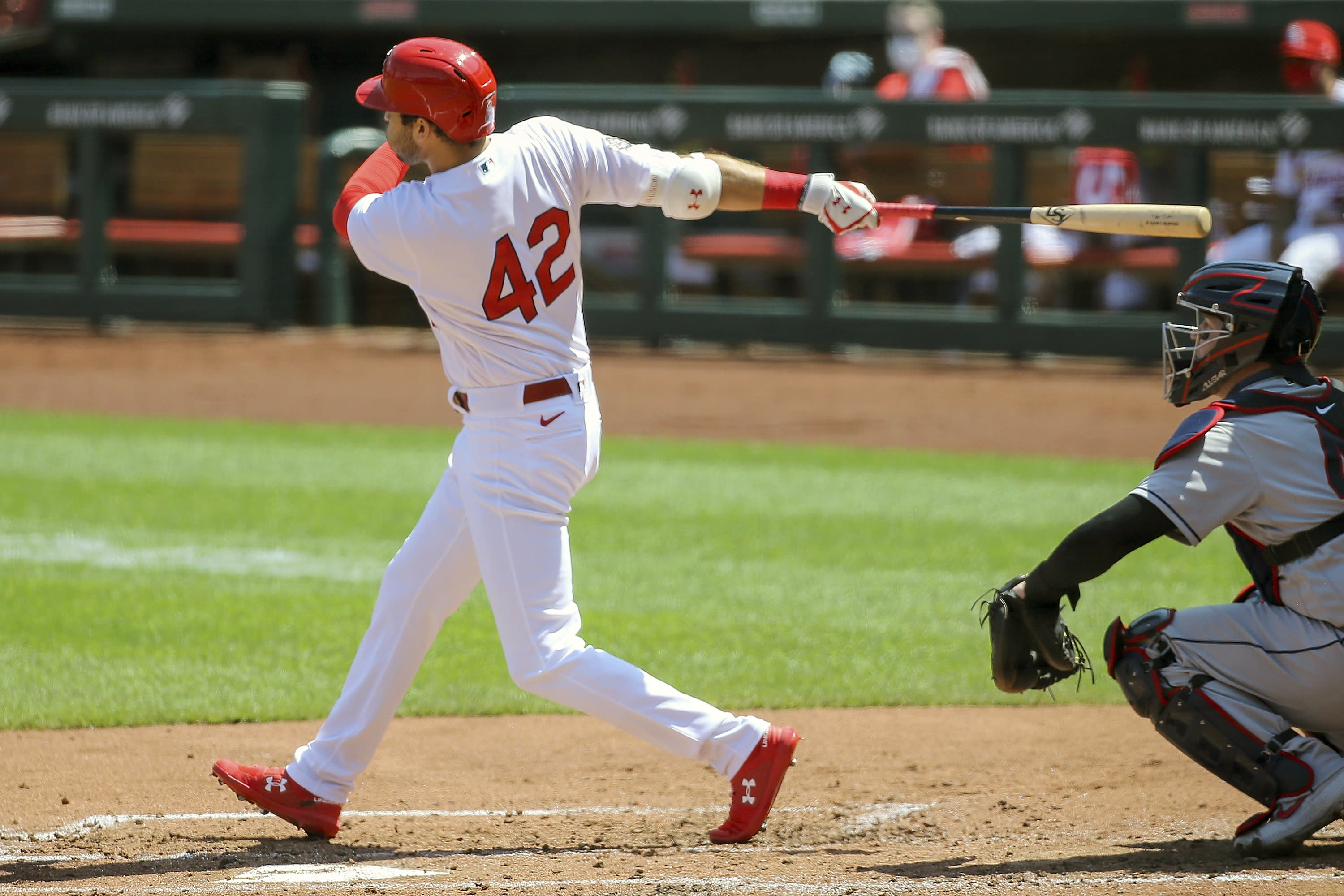 St. Louis Cardinals' Dylan Carlson hits a two-run single during the second inning of a baseball game against the Cleveland Indians Sunday, Aug. 30, 2020, in St. Louis. (AP Photo/Scott Kane)