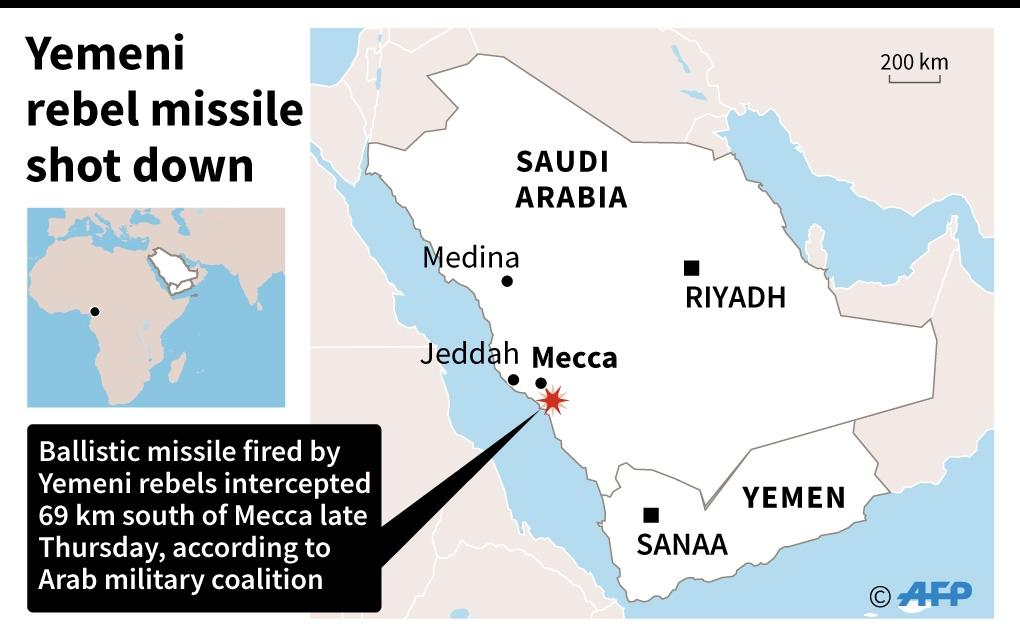 Map of Saudi Arabia locating Mecca. A ballistic missile fired by Yemeni rebels was shot down late Thursday close to Mecca, according to the Arab military coalition fighting in Yemen. (AFP Photo/-)