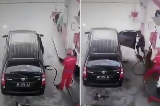 Car bursts into flames while being re-filled at petrol station in Indonesia