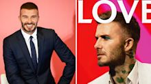 David Beckham sports teal eyeshadow and guyliner on magazine cover