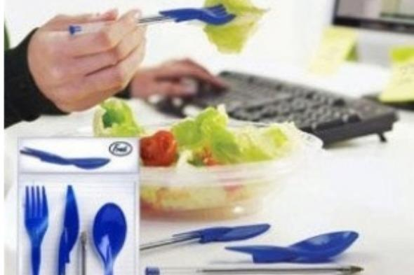 """<p>Eating lunch at your desk is never a delight. However, when you've packed a salad or soup and no cutlery it can make the whole process into a lunchtime nightmare.</p>  <p>Fortunately some clever soul has invented the <a href=""""http://www.fishpond.co.uk/Kitchen/Dine-Ink-Pen-Cap-Eating-Utensils-Funny-novelty-utensils/0728987018527"""" target=""""_blank"""">ink pen cap eating utensils</a>. Just keep them in your drawer, attach the knife, fork or spoon head to your pen, and you have a brilliant eating utensil.</p>  <p>Just don't ask why you can't just keep plastic cutlery in your drawer instead.</p>"""