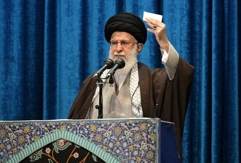 Iran's Supreme Leader Ayatollah Ali Khamenei delivers a sermon during Friday prayers in Tehran