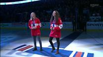Wickenheiser and Szabados drop the puck