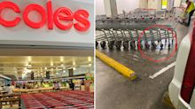Coles customer furious after finding trolleys in vital spot