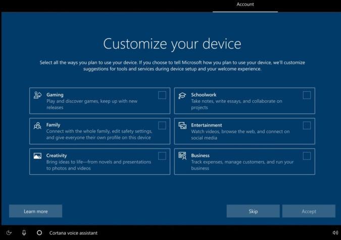 Windows 10 test setup screen