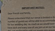 Insulting wedding invitation sparks outrage on social media: 'Please understand...'